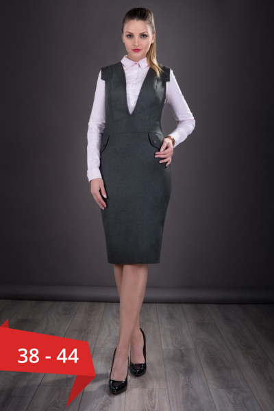 Sarafan dama elegant Tina gri inchis - Sarafane dama 0