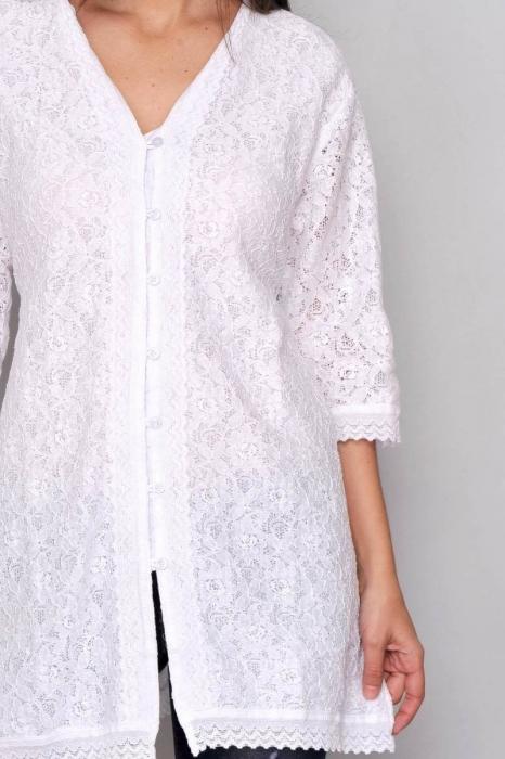 Bluza de plaja - Camasa lunga de vara cu broderie HHG Spania, alb 1