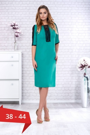 Rochie verde din voal cu dantela neagra Maura0