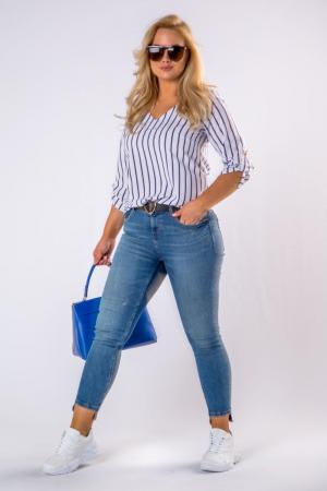 Bluza alba cu dungi albastre si maneci reglabile - Marimi mari [2]