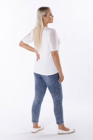 Bluza alba eleganta cu tulle si glitter - Marimi mari 48-54 [2]
