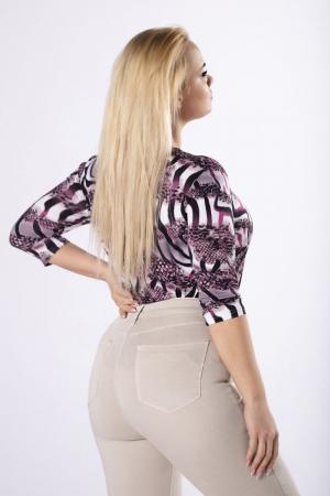 Bluza cu maneca lunga din vascoza cu imprimeu animal print [2]