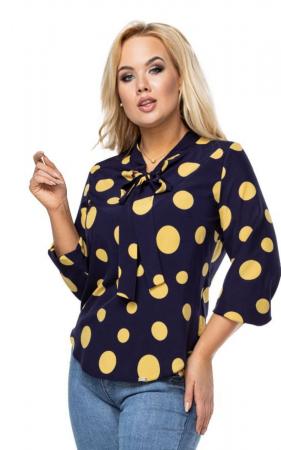 Bluza eleganta dama cu buline galbene - Marimi mari [0]