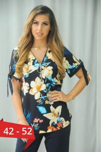 Bluza eleganta cu flori marimi mari Karina bleumarin