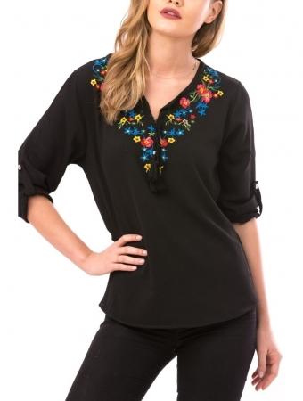Bluza de dama cu broderie florala Maria, negru1