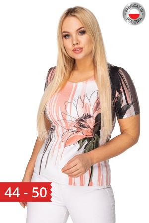 Bluza de vara cu maneca scurta alb/roz [0]