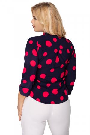 Bluza eleganta bleumarin cu buline rosii - Bluze marimi mari [1]