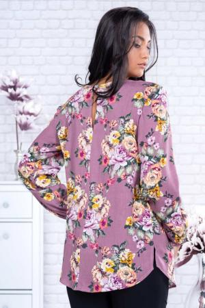 Bluza eleganta dama voal roz cu imprimeu flori1