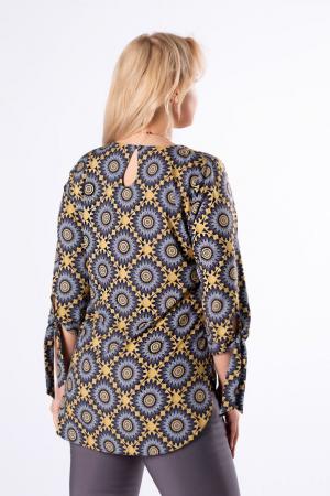 Bluza lunga dama cu maneci lungi 3/4 si imprimeu geometric1
