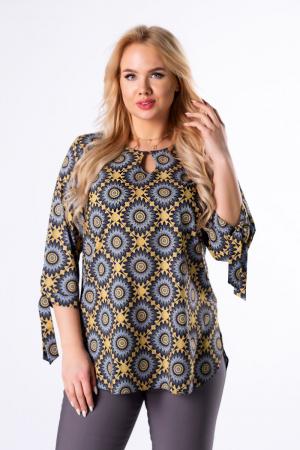 Bluza lunga dama cu maneci lungi 3/4 si imprimeu geometric2