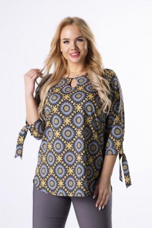 Bluza lunga dama cu maneci lungi 3/4 si imprimeu geometric0