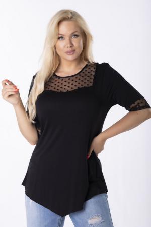 Bluza neagra eleganta asimetrica cu insertie de plasa [0]