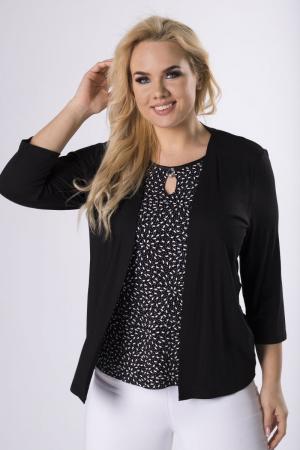 Bluza neagra eleganta cu buline si blazer1