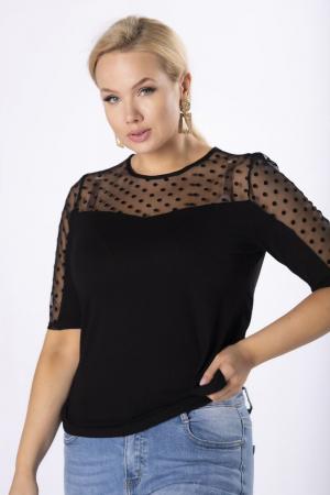 Bluza neagra eleganta cu maneca scurta cu buline din catifea [0]