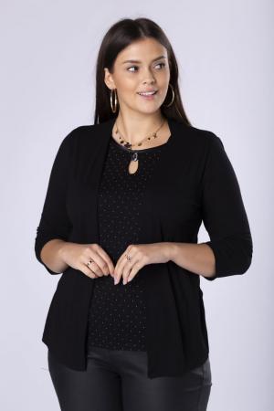 Bluza neagra eleganta cu buline mici si imitatie blazer0