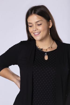 Bluza neagra eleganta cu buline mici si imitatie blazer2