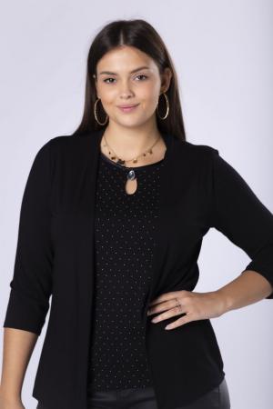 Bluza neagra eleganta cu buline mici si imitatie blazer1