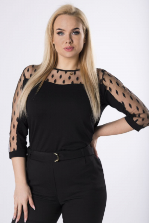Bluza neagra eleganta cu maneci din plasa transparenta0