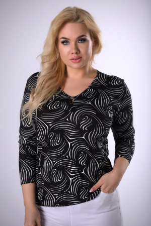 Bluza neagra cu maneca lunga 3/4 - Bluze femei plinute [0]