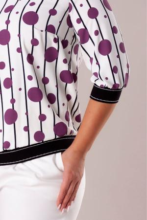 Bluza casual alba cu cu buline mov2