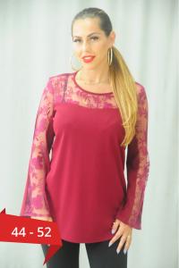 Bluza rosie dama cu dantela Karina