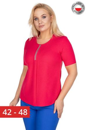 Bluza rosie din voal cu maneca scurta0