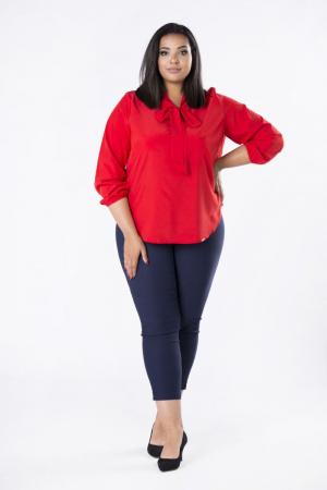 Bluza rosie eleganta cu maneca lunga si funda0