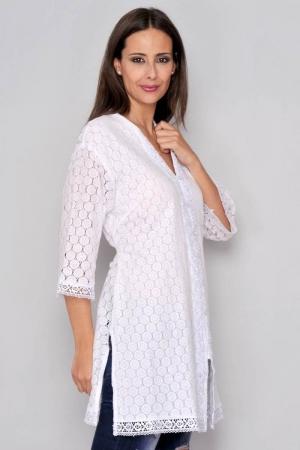 Bluza tip tunica de vara din bumbac cu broderie, alb1