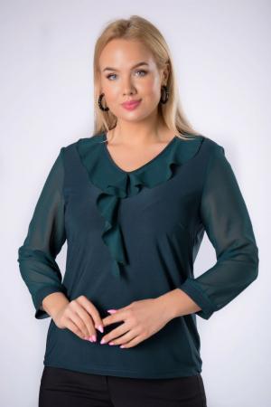 Bluza verde eleganta din voal cu volane - Bluze marimi mari [0]