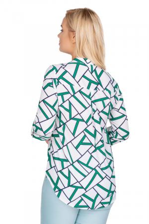 Camasa alba dama cu maneca lunga si imprimeu verde1