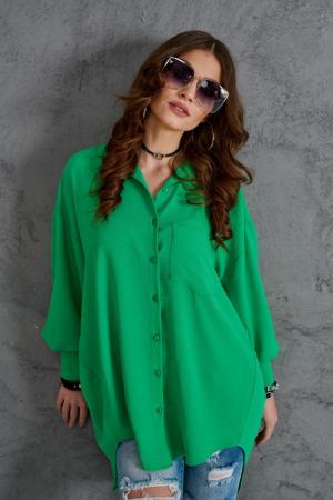 Camasa lunga dama cu croiala asimetrica verde2