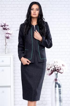 Compleu de dama marimi mari fusta si taior, culoare negru/verde1