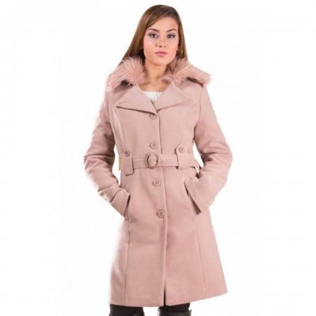 Palton de iarna cu guler imblanit Marina, cappuccino1