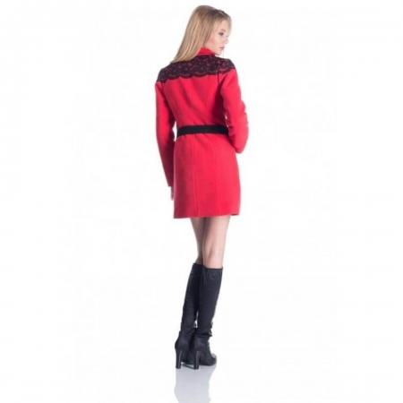 Palton rosu din stofa cu dantela Carmela1