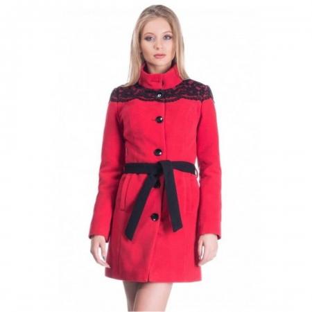 Palton rosu din stofa cu dantela Carmela2
