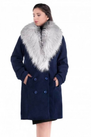 Palton elegant cu guler din blana Ambra, bleumarin/argintiu1