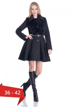 Palton elegant scurt, dama, aplicatie blanita, negru0