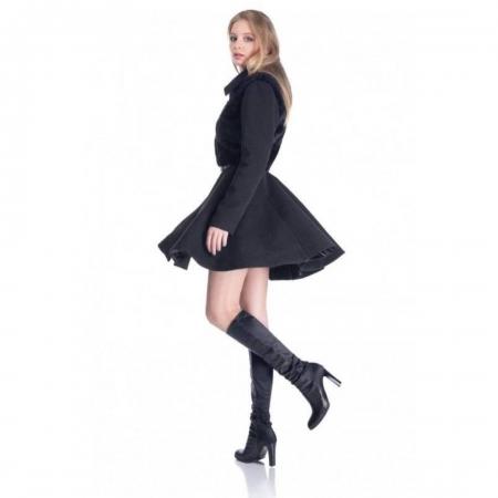Palton elegant scurt, dama, aplicatie blanita, negru2