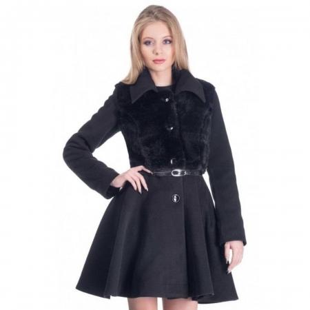 Palton elegant scurt, dama, aplicatie blanita, negru1