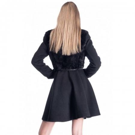 Palton elegant scurt, dama, aplicatie blanita, negru3