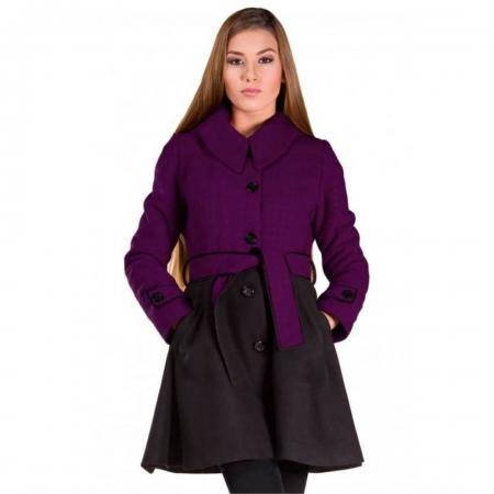 Palton de dama scurt cu gluga Luiza, mov/negru1