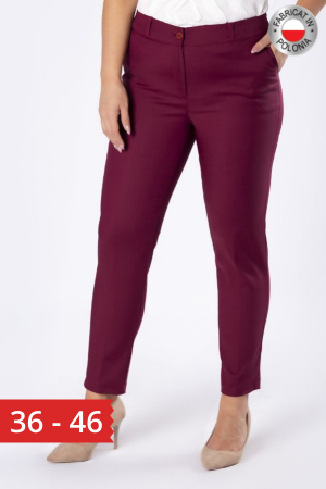 Pantaloni eleganti cu croiala conica grena0