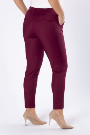Pantaloni eleganti cu croiala conica grena1