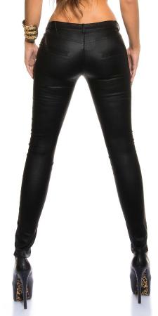Pantaloni cu talie joasa, aspect lucios, negru1