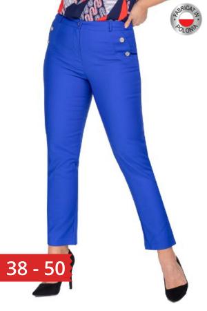 Pantaloni eleganti clasici cu croi conic, albastru0