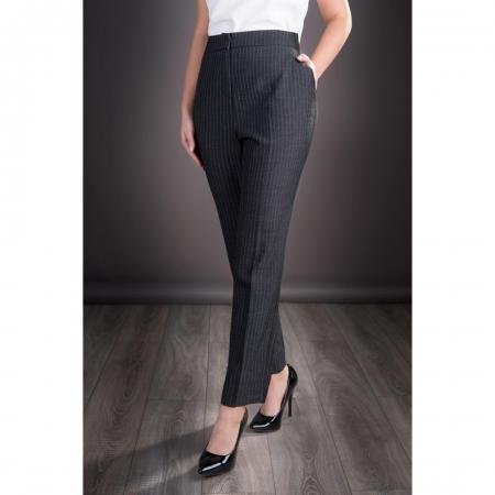 Pantaloni eleganti din stofa Roxana, gri inchis0