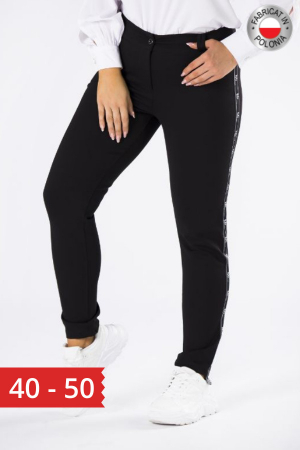 Pantaloni negri casual cu insertie pe picior0