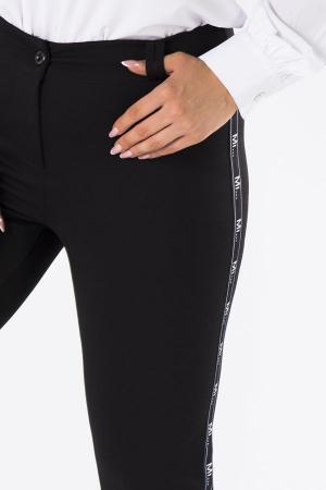 Pantaloni negri casual cu insertie pe picior2