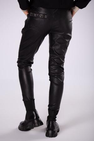 Pantaloni slim fit dama, aspect ceruit, negru2
