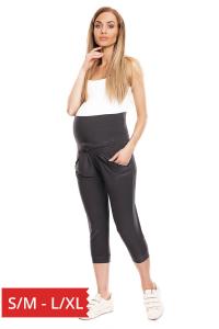 Pantaloni trei sferturi gravide Corina gri inchis0